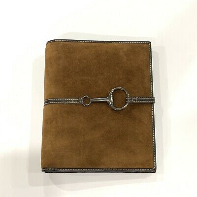 Franklin Covey Brown Suede Leather Open Planner Binder 7 Rings 9.5x8 Horse Bit