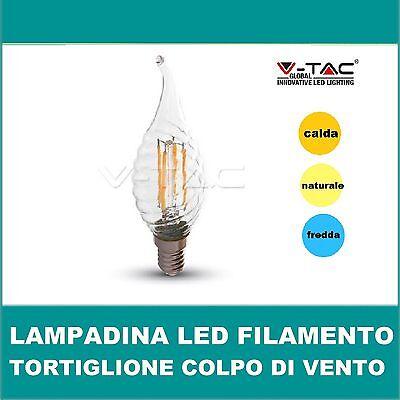Lampadina LED  tortiglione  colpo di vento filamento FIAMMA 4W E14 v-tac LAMPADA