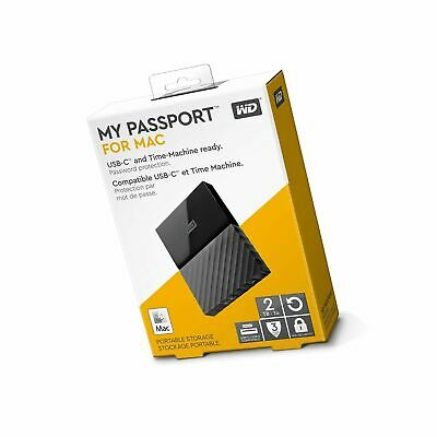 Used, WD 2TB My Passport for Mac Portable external Hard Drive USB 3.0 USB-C T-Machine for sale  Shipping to India