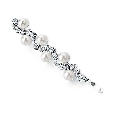 Elegant Crystal & Pearl Design 5cm Metal Hair Grip Wedding Prom Races Pin Clip