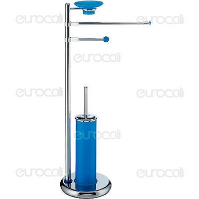 Piantana Porta Rotolo Scopino Sapone Colore Blu Accessori Arredo Bagno PT31S