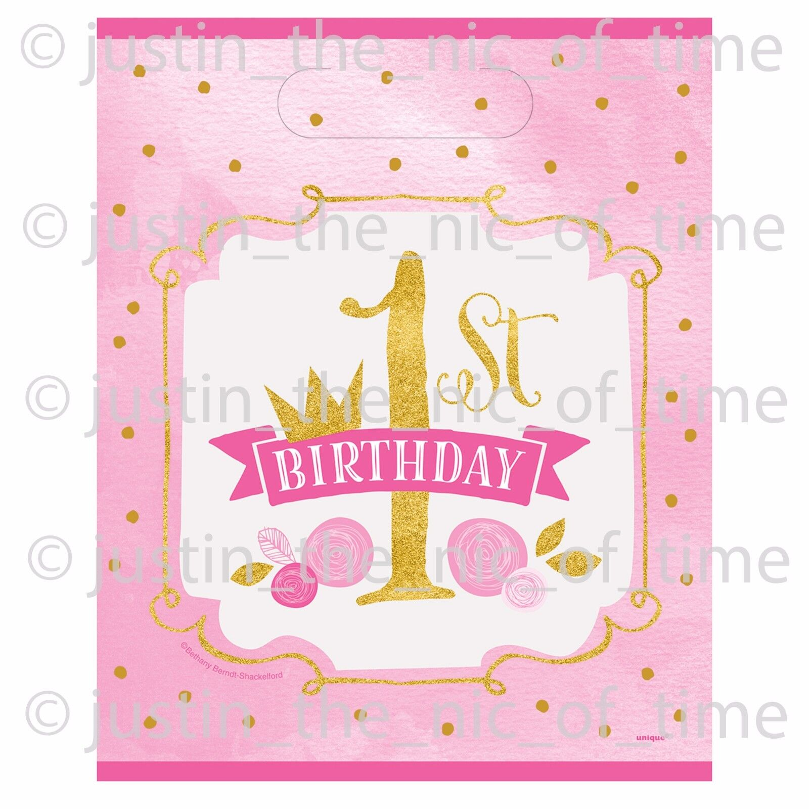 1st First Birthday Pink Girls Plastic Loot Gift Bag Favor Bags X8