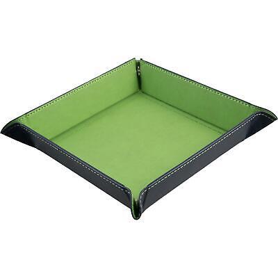 shibby - faltbare Würfelschale, Würfelunterlage aus Kunstleder in grün - 22x22cm