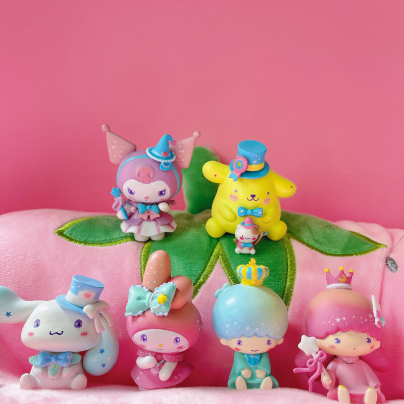 6pcs/set Cute My Melody Kuromi Cinnamoroll Little Twin Stars Figures Toy Gift