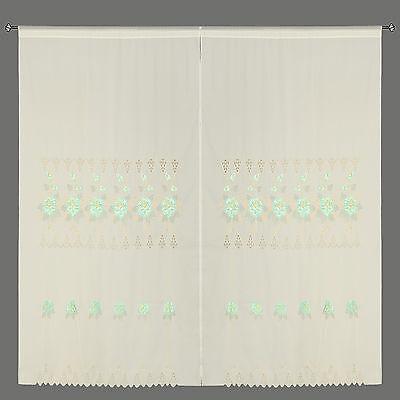 Mint Green Room Decor Embroidery Shade Sheer Window Curtain Drapes 60x90