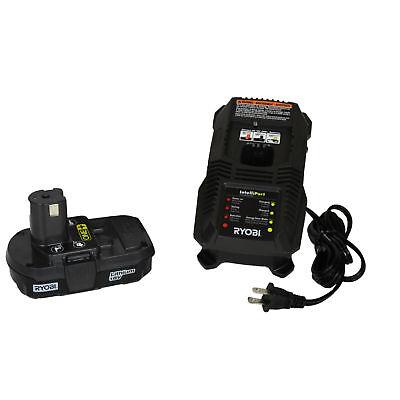 Ryobi P118 18V Lithium-Ion Battery Charger & One P102 18V Compact Battery 18v Lithium Ion Compact
