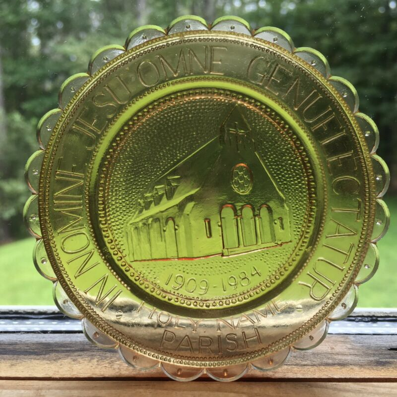 New Bedford Church Holy Name Parish Christian Home Art Glass Pairpoint Cup Plate