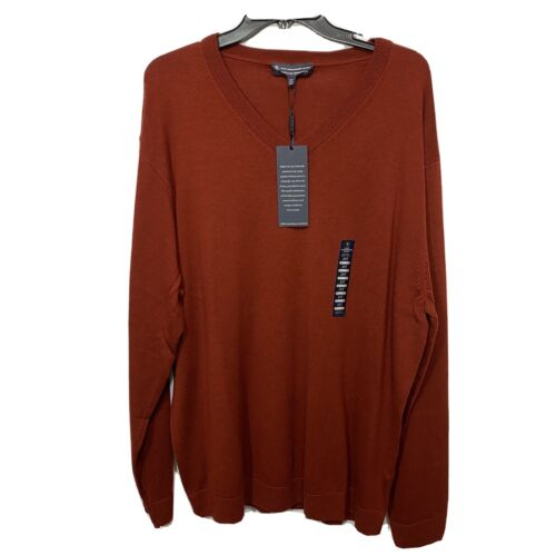 $99 Hart Schaffner Marx V-Neck Sweater 2XT 2XLT  Rust Orange Wool Pullover Clothing, Shoes & Accessories
