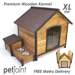 German Shepherd XL Timber Wood Puppy Dog Kennel Bulldog Free Post