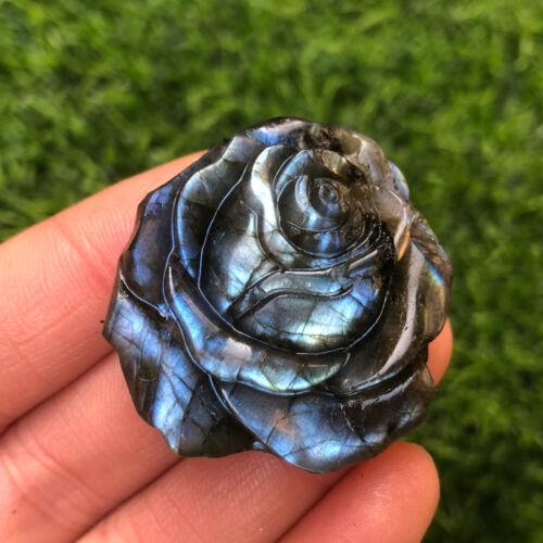 Natural Labradorite Quartz Crystal Flower Skull Carved Skull Reiki Healing 1pc
