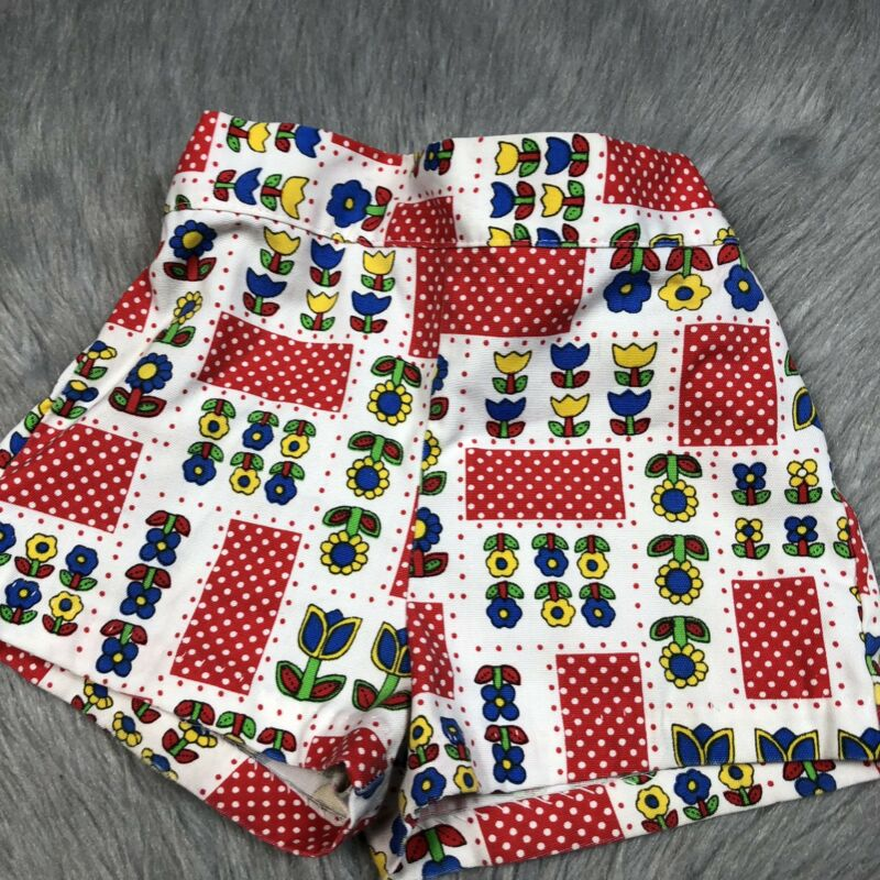 Vintage Healthtex Girls Red White Blue Polka Dot Tulip Floral Shorts