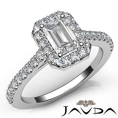 Halo Emerald Cut Diamond Engagement French U Pave Wedding Ring GIA F VS2 1.21Ct