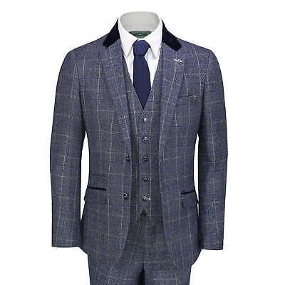 20s Style Suit (Mens 3 Piece Suit Tweed Check Navy Blue Retro 1920s Peaky Blinder Vintage)