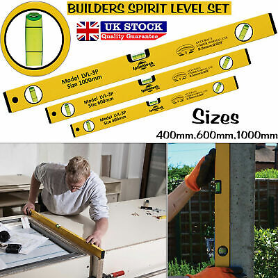 - Professional Builders Spirit Level Aluminium DIY Long Set 400 600 1000mm Tools