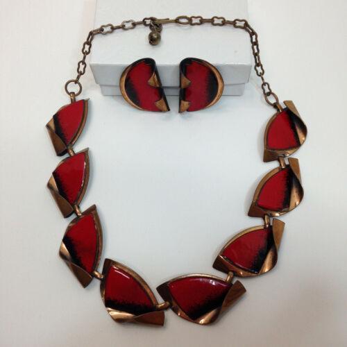 VTG Mid Century Copper Art Necklace & Clip-On Earrings Set Red & Black Enamel