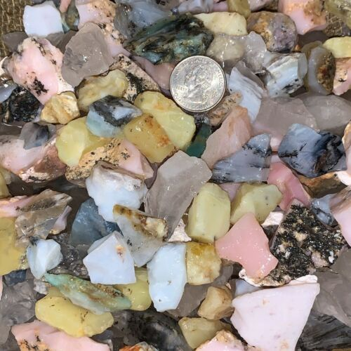 1000 Carats of SMALL Mixed Opal (Yellow,Blue,Pink,Clear) Rough+ FREE Faceted Gem