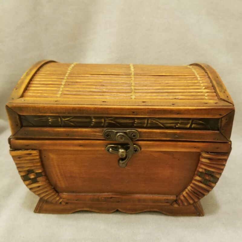 """Bamboo Wooden Trinket Box with Hinged Cover Top, 7""""L x 6""""W x 5""""H"""