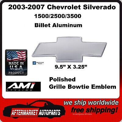 03-07 Chevrolet Silverado 1500 Polished Aluminum Bowtie Grille Emblem AMI 96183P