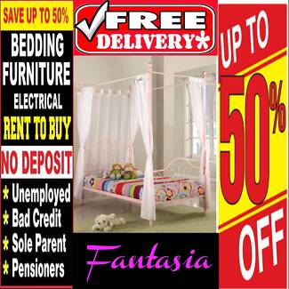 BRAND NEW 4 Poster Bed Frame Single Pink Or White FREE DELIVERY*