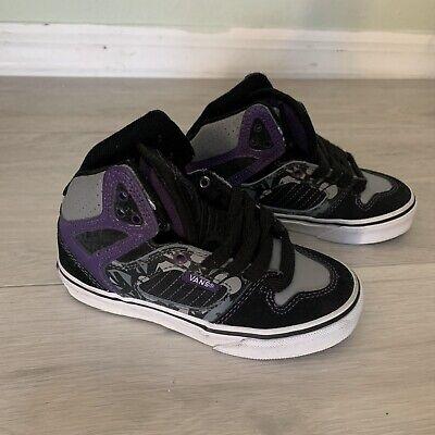 NEW VANS Ellis Mid Shoes Black Purple Grey Young Boys Size 11 Mid Grey Kids Shoes