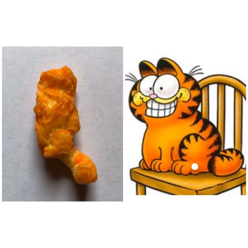Garfield The Cat Shaped Cheeto. Perched With Long Tail!!