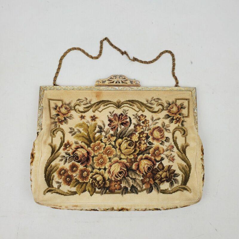 Vintage Ladies Purse Handbag Floral Design Embellished Metal Trim Metal Chain