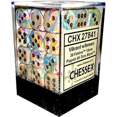 Chessex Dice (36) Block Sets 12mm D6 Festive Vibrant /Brown 36 Die Set CHX 27841