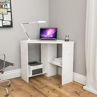 Hetton Computer Desk Corner 2 Shelf Laptop PC Table Home Office Study White