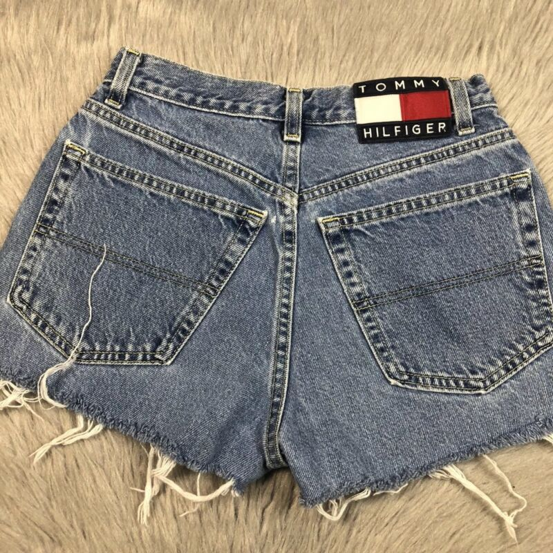 Vintage Womens Tommy Hilfiger Jeans Cut Off Distressed Frayed Denim 90s Shorts