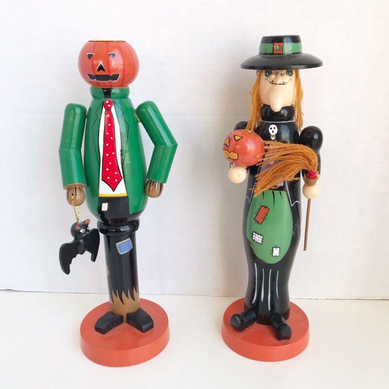 Halloween Candlestick Holders Lot Of 2 Witch Pumpkin Man Bat Pumpkin