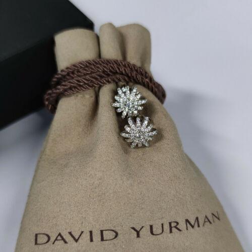 David Yurman Sterling Silver Full Pavé Diamonds Starburst Earrings