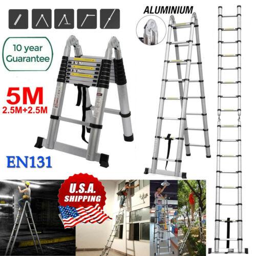 5M Telescopic Loft Ladder Extendable Collapsible Industrial