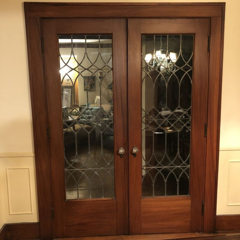 Set Of Gumwood Leaded Glass Doors Architectural Salvage