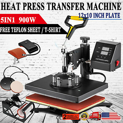 5in1 12x10 Heat Press Machine Transfer Subimaltion T-shirt Cap Swing Mug Cap