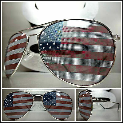 New CLASSIC VINTAGE RETRO Style PATRIOTIC SUN GLASSES USA US AMERICAN Flag Frame
