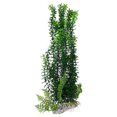 Plastic Aquarium Fish Tank Plant with Base 12 Inch Tall, Thick Green Foliage