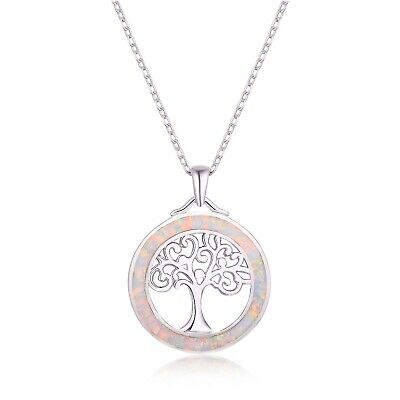 Sevil 18K White Gold Plated Created Pink Opal Tree of Life Pendant Necklace Gold Plated Opal Necklace