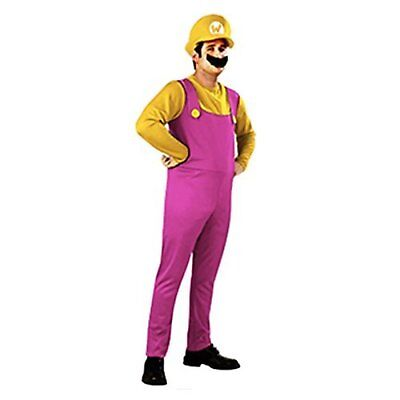 Wario Hat And Mustache (Super Mario Bros Wario style costume false mustache and with hat 165-180cm)
