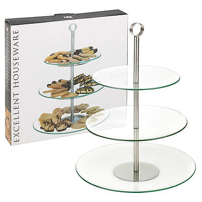 3 Tiered Glass Round Serving Display Cakes Platter Food Stand Wedding Plate NEW ()