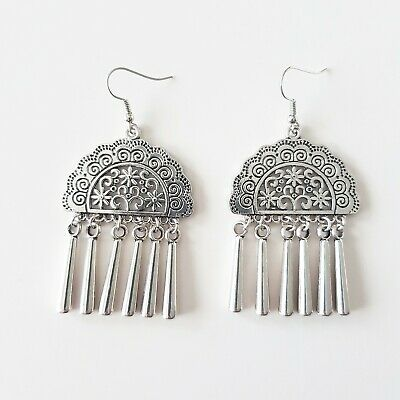 Boho vintage silver tribal ornate filligree gypsy tassel drop fashion earrings