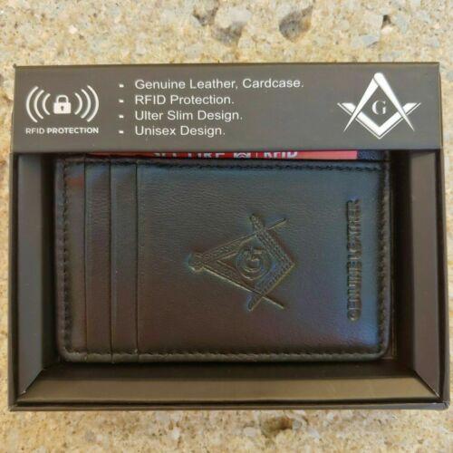 Masonic Black Genuine Leather RFID Slim Wallet Mason Embossed Square and Compass