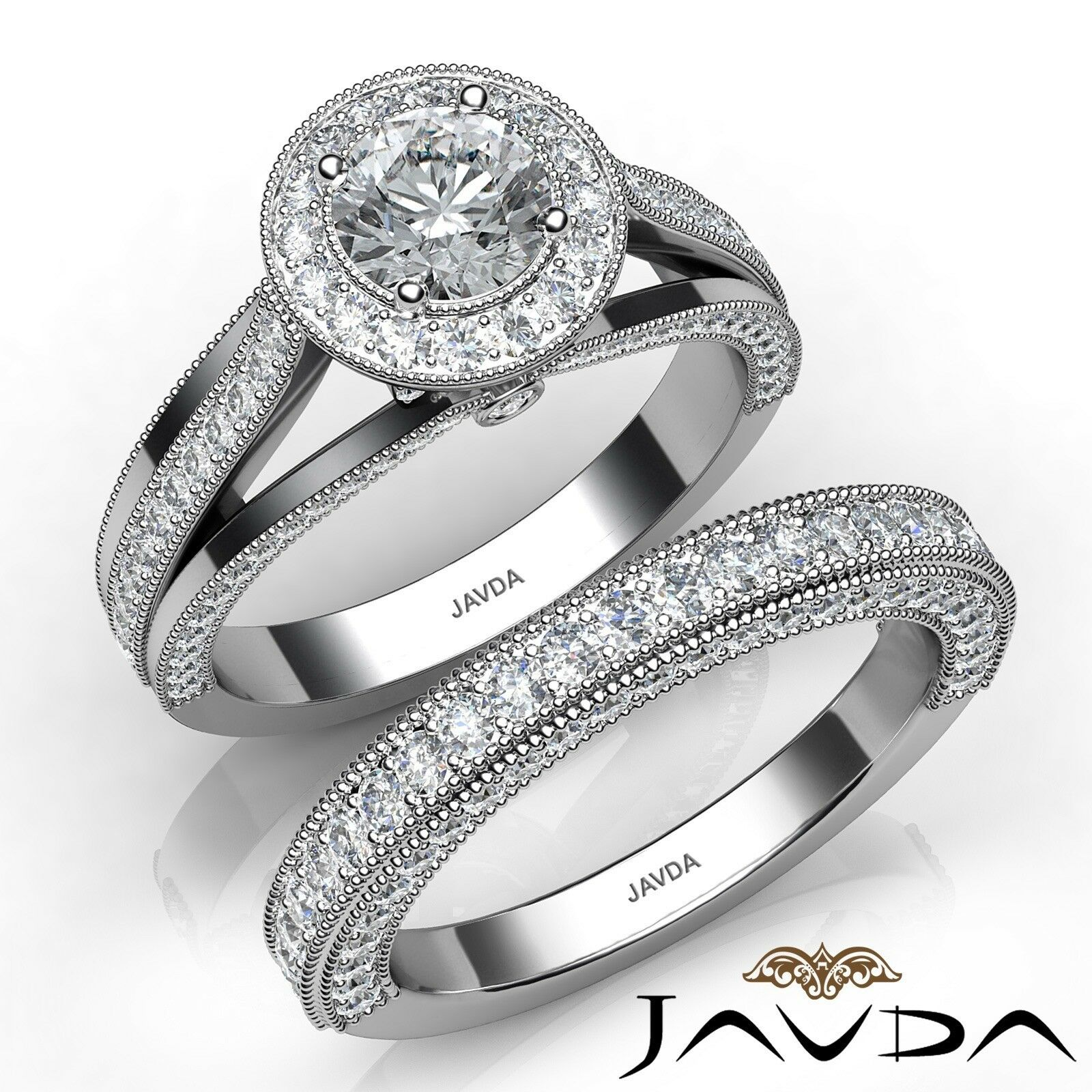 2.15ctw Milgrain Edge Bridal Set Halo Round Diamond Engagement Ring GIA F-VS1