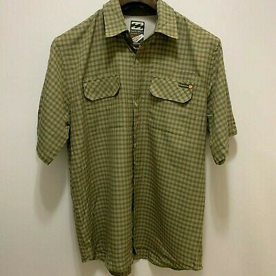 Billabong Shirt Sz Medium Mens Button Up, Short Sleeve, Plaids & Checks, Green