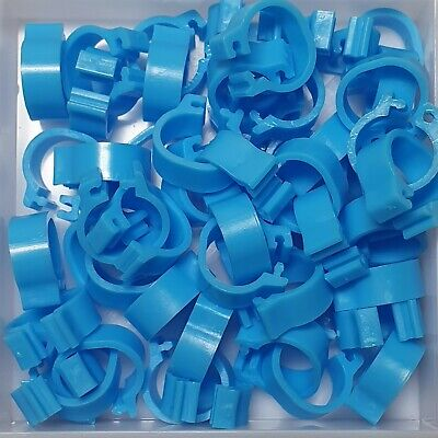 25 x LIGHT BLUE 8mm PLASTIC PIGEON LEG CLIP CLICK RINGS