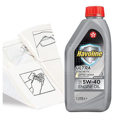 Engine Oil Top Up 1 LITRE Texaco Havoline Ultra 5w-40 1L +Gloves,Wipes,Funnel
