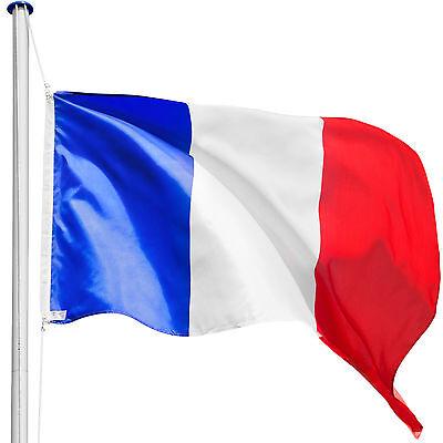 Flag pole aluminium flagpole 21ft 6.50m alu mast + France flag + ground sleeve