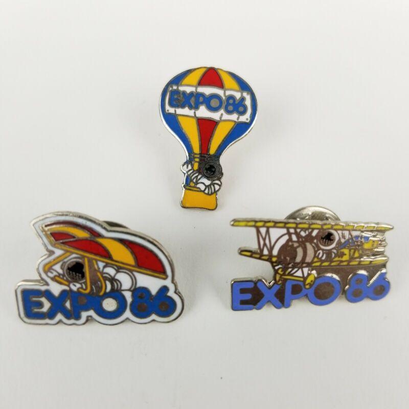 3 EXPO 86 World Fair Vancouver Ernie Balloon Plane Glider Astronaut Pins