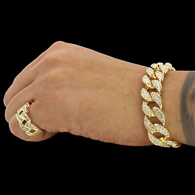 (Mens 2pc Bracelet Ring Set Miami Cuban Link Iced Out 14k Gold Plated Hip Hop)