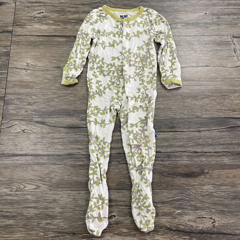 Kickee Pants Tree And Leaves Coverall Baby Sz 12-18 Months