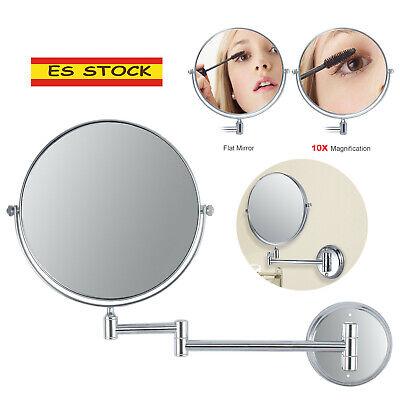 Espejo de maquillaje de aumento 10x dos caras Rotación 360°de de pared...
